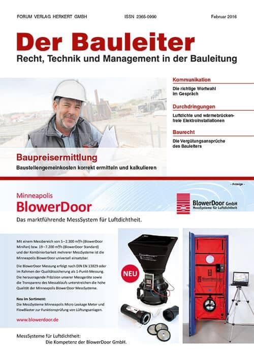 Ausgabe Februar 2016<br>Baupreisermittlung