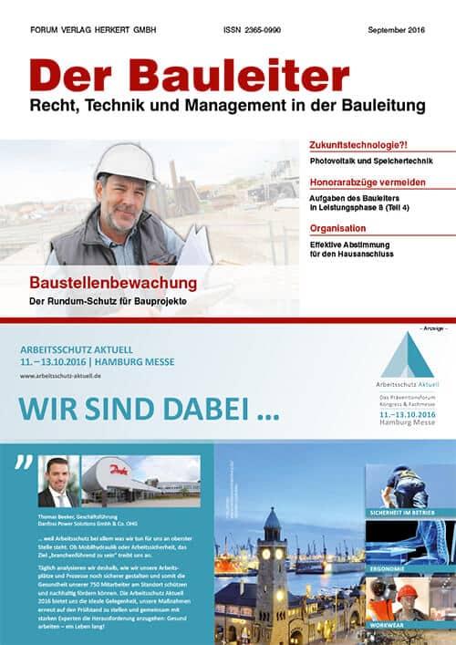 Ausgabe September 2016<br>Baustellenbewachung