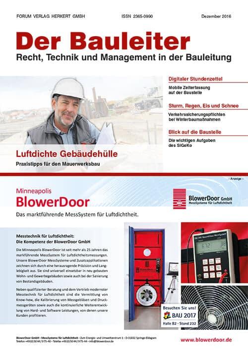 Ausgabe Dezember 2016<br>Luftdichte Gebäudehülle