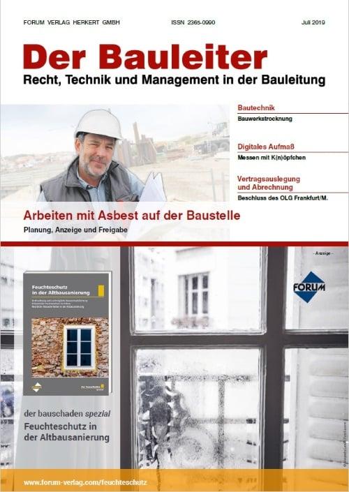 Ausgabe Juli 2019<br>Arbeiten mit Asbest